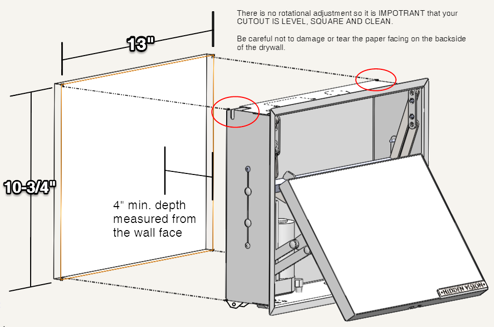 M9 in-wall hidden compartment for handguns or other valuable items