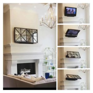 """Showing the Flip Around TV mount with optional """"Low Profile"""" picture frame (TV not included)"""