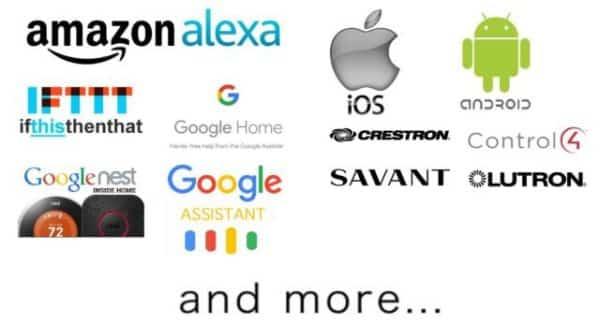 Compatible with Amazon alexa, Google nest, Google Assistant Google Home, Savant, Crestron, Control 4, Lutron, Savant, Crestron, Control 4, Lutron, and more