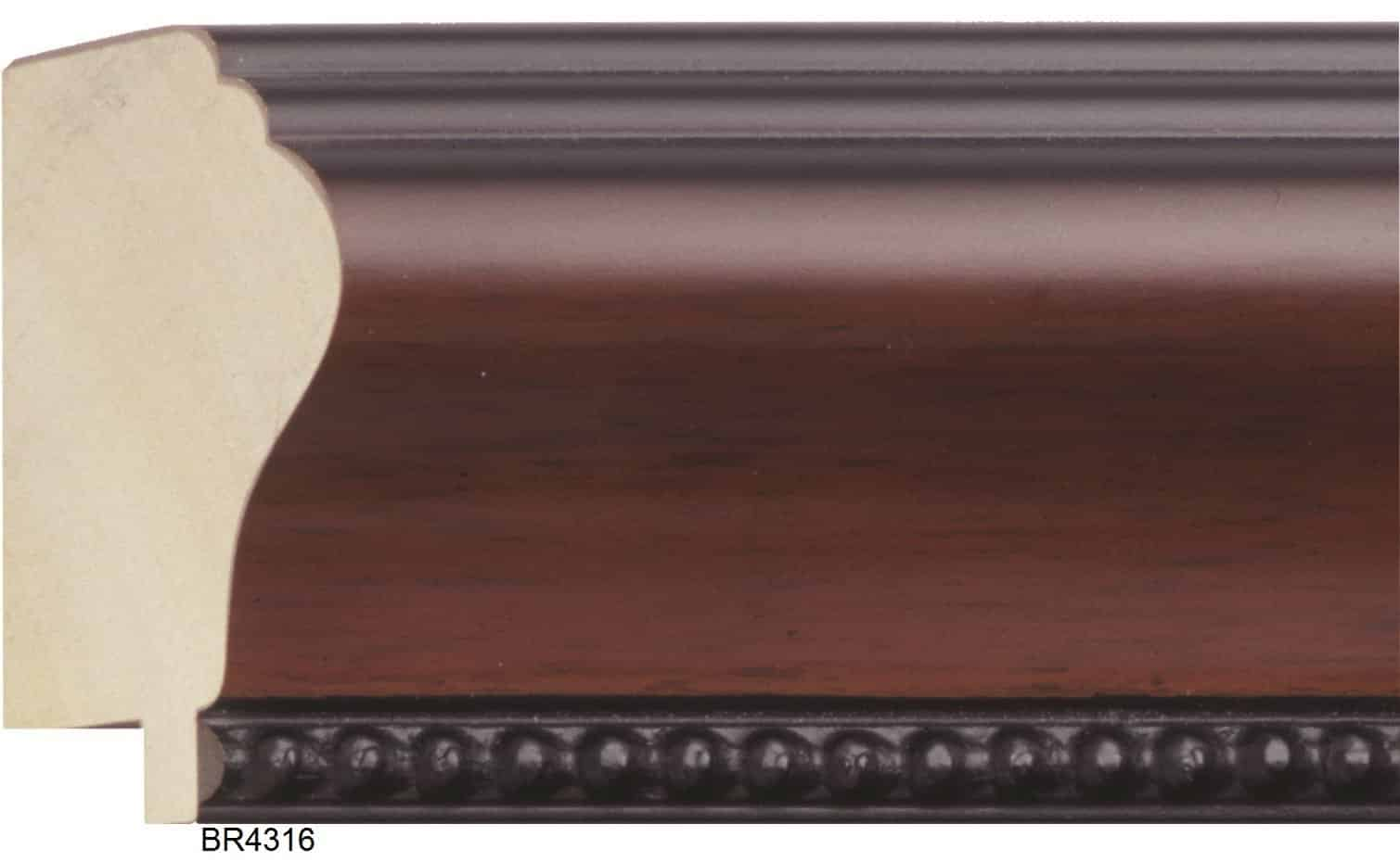 2 1/2 inch WALNUT COLOR FINISH W/BEAD